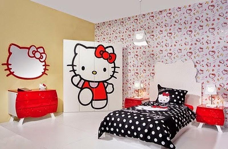 Contoh gambar wallpaper dinding hello kitty untuk kamar tidur