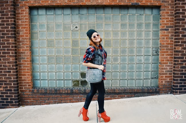casual glam oversized plaid flannel top