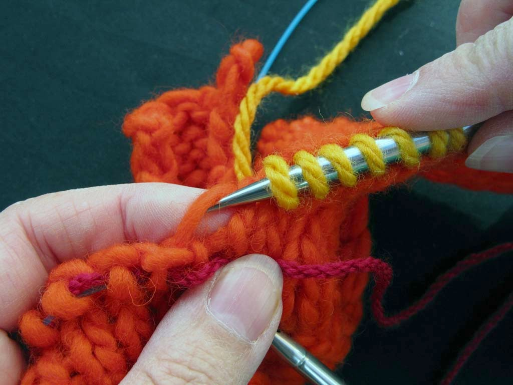 Knitting and More: Picking up stitches for the Neckband on a Round Neckline