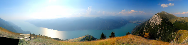 Lake Garda as seen from the top of Monte Baldo—Riva del Garda is to the far right and Sirmione to the left.
