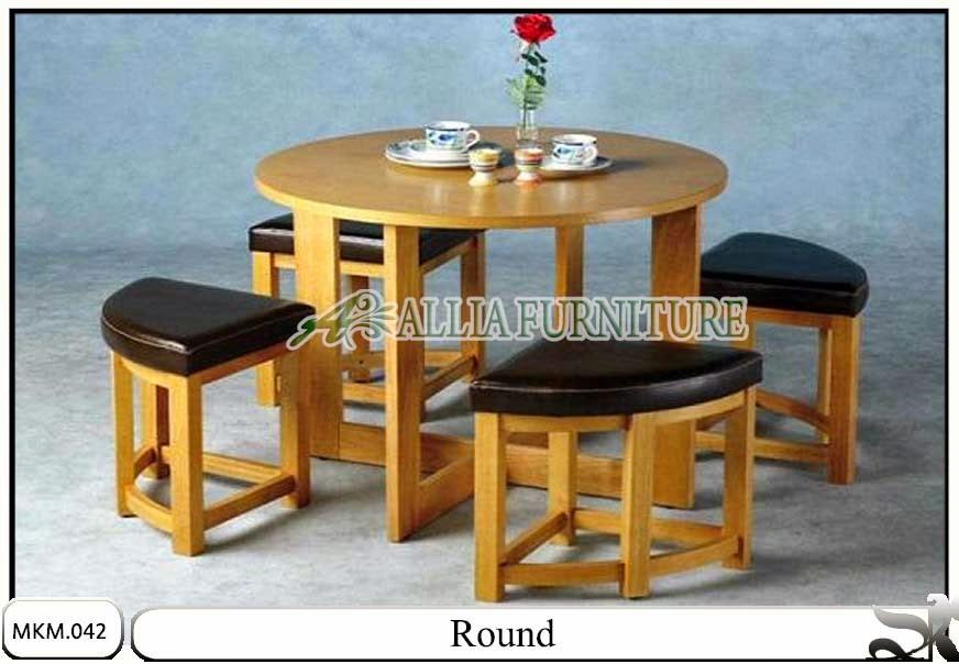 Set meja dan kursi makan minimalis round