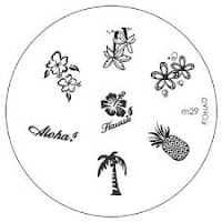 Konad stamping plate M29 tropical pineapple palm trees image