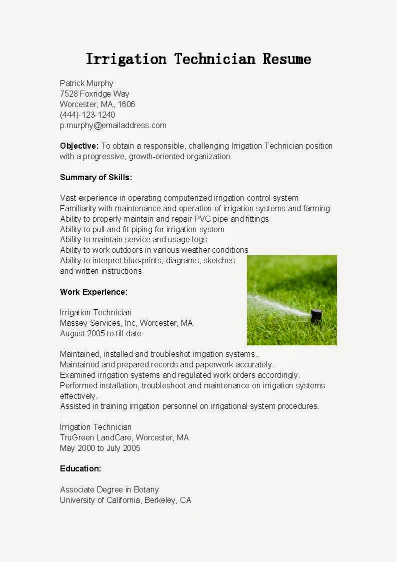 resume samples  irrigation technician resume sample