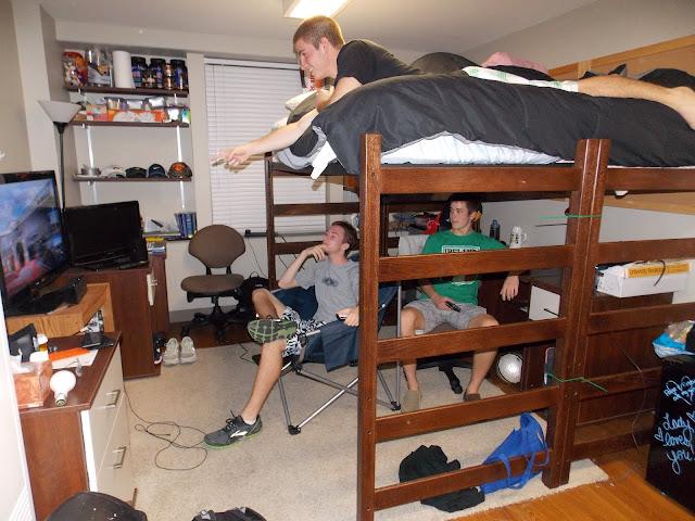 As they enjoy his impressive yet dorm friendly entertainment system