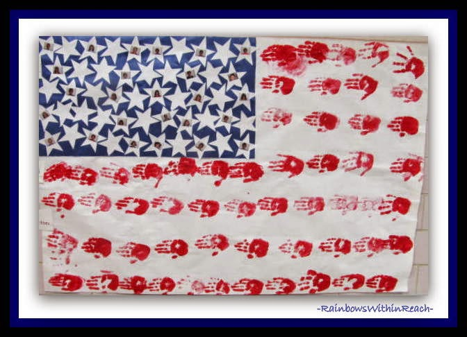 American Flag with Painted Hand Print Stripes at RainbowsWithinReach