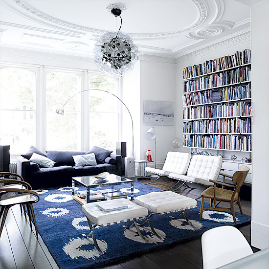 White living room with blue highlights