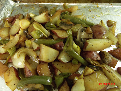 roasted potatoes,onions,bell peppers, mushrooms