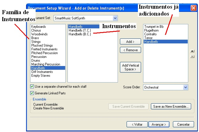 how to add instruments in finale