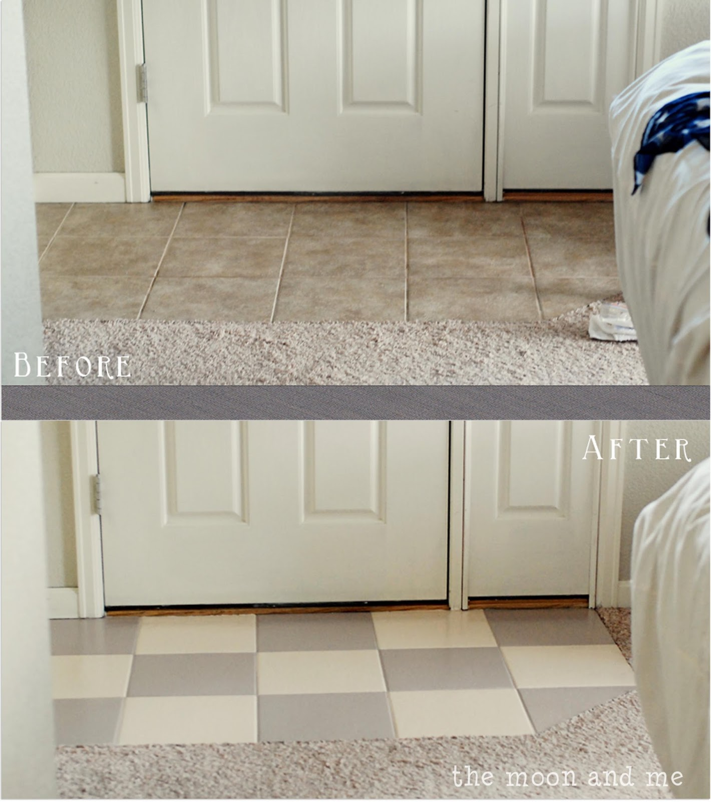 The moon and me painting a tile floor tips and grumbles for How to paint tiles bathroom