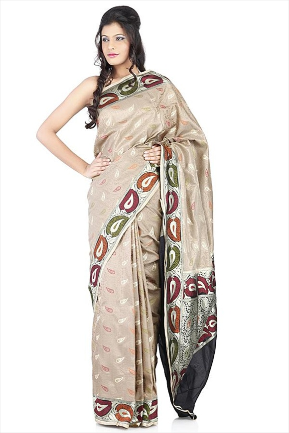 Taffy Brown Kattan Silk Banarasi Saree