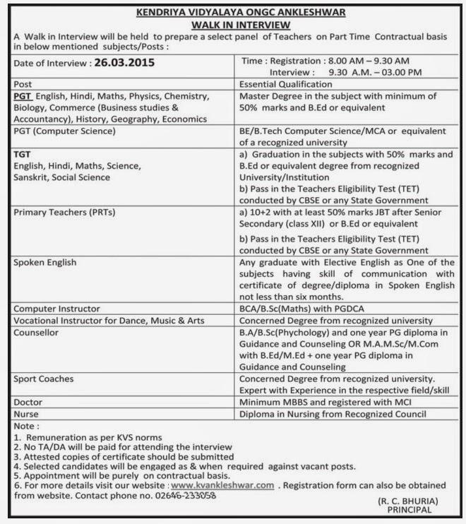 Kendriya Vidyalaya (ONGC) Ankleshwar, Recruitment, 2015   Aapnu ...