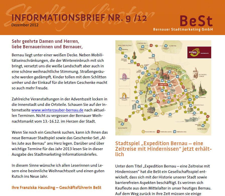 Infobrief der Bernauer Stadtmarketing (BeSt) veröffentlicht • Bernau ...