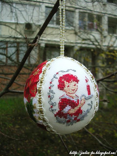 Création point de croix, вышивка, Véronique Enginger, новогодний шарик, елочная игрушка, la bougie, свеча