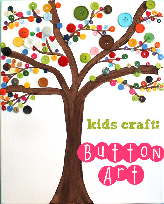 Image result for button tree canvas kids art