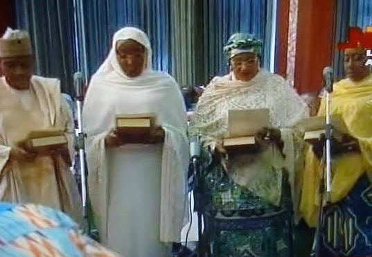 Alhassan, Aisha Abubakar, Aisha Ibrahim, Dan Ali taking oath of office