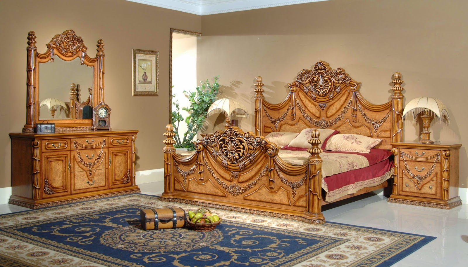 Luxurious Teak Bedroom Furniture Idea