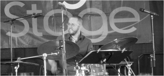 Juan Pastor - drums - Beveled - 2015 Chicago Jazz Festival    Photograph by Tom Bowser