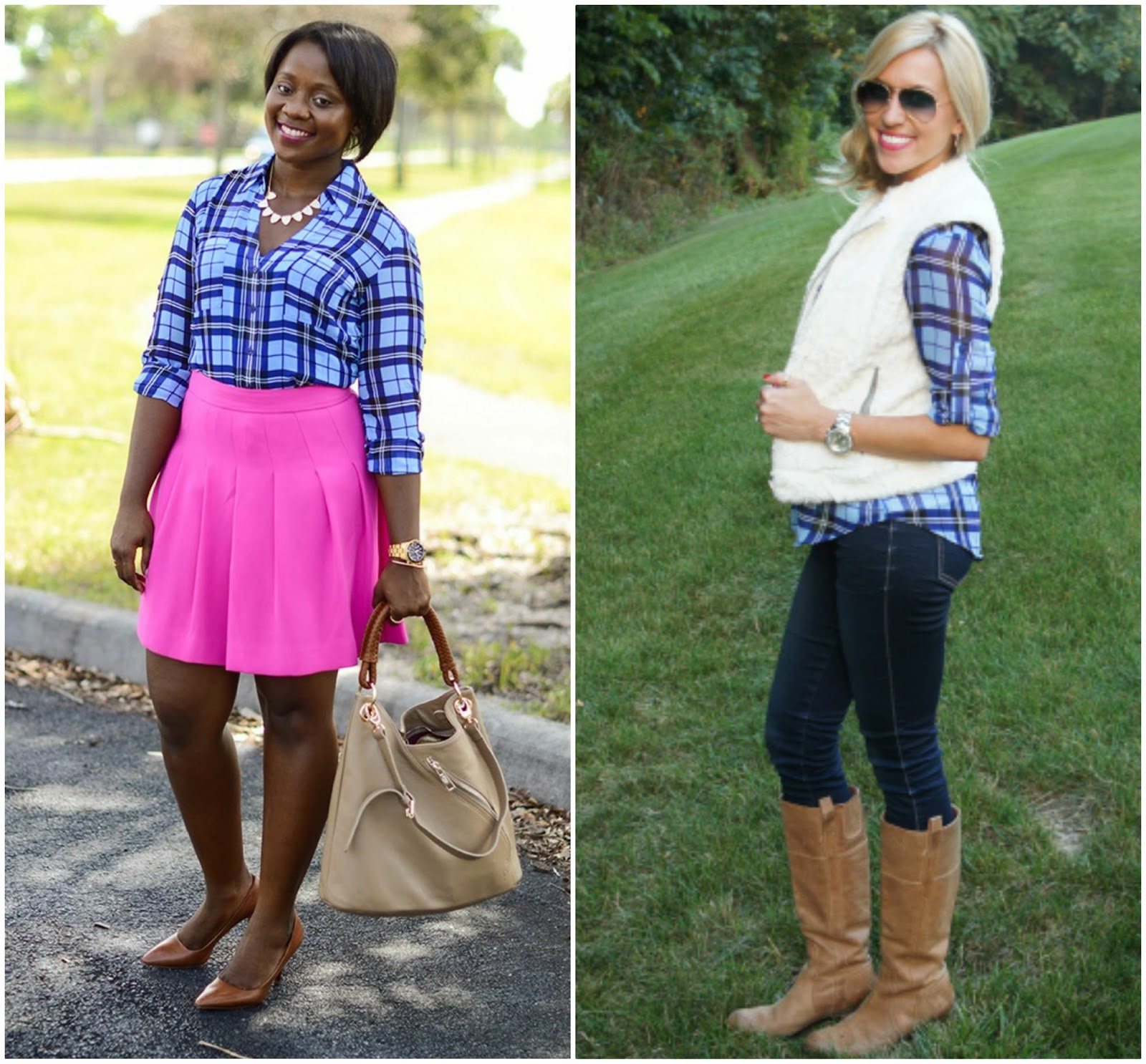Express Large Plaid Portofino, Blue Plaid Blouse, 2 ways to style