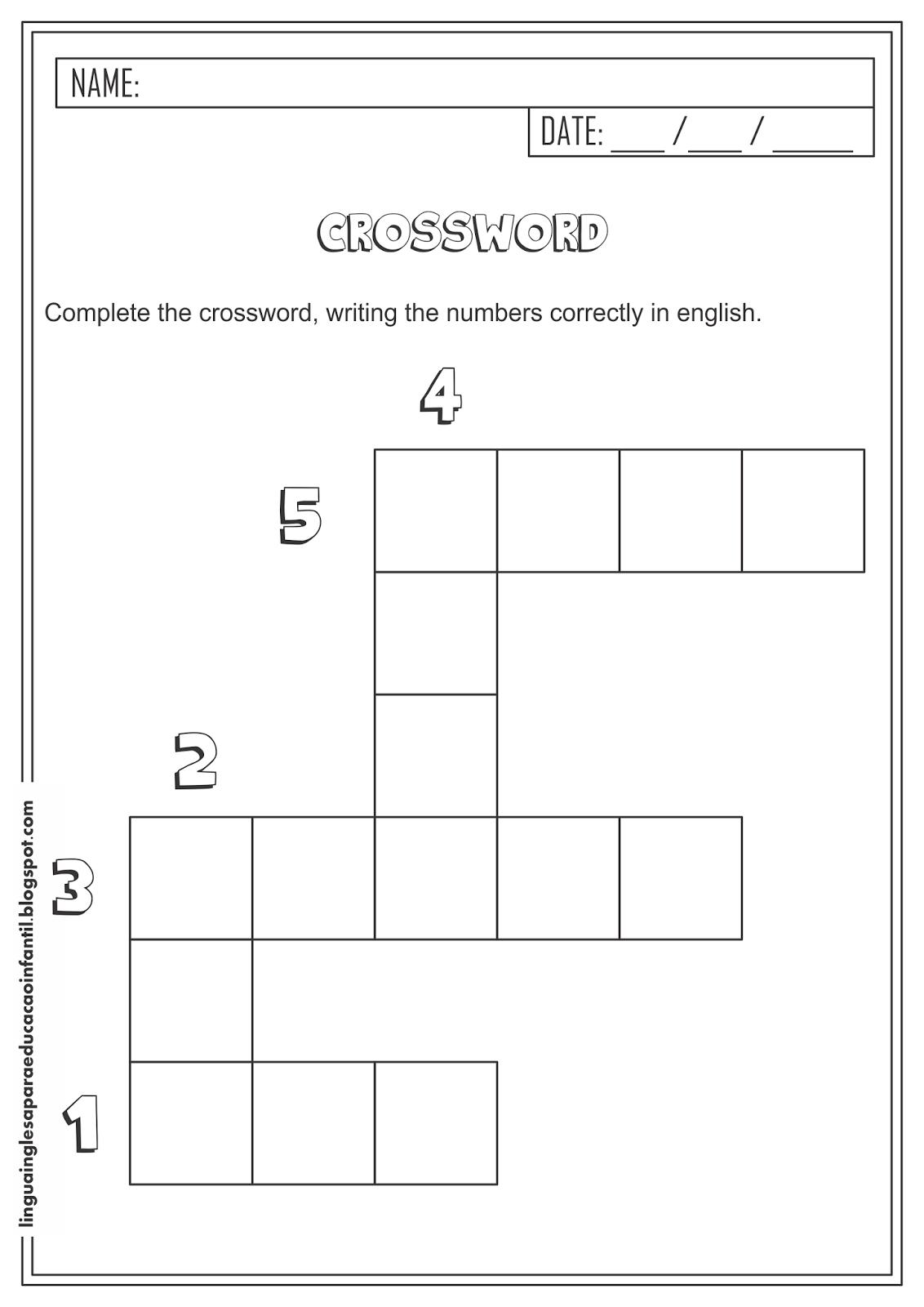 Cruzadinha de números em Inglês para Educação Infantil