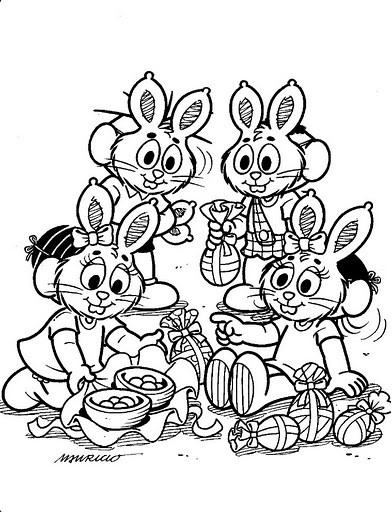 colorir desenhos Feliz Páscoa da Turma da monica