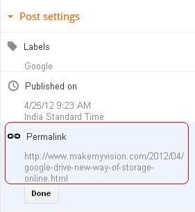 Permalink is way to Edit Blogger Post URL