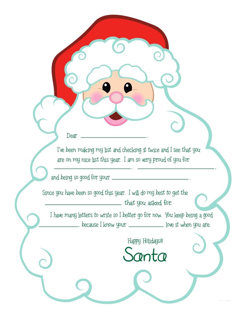 santa letter writing paper template