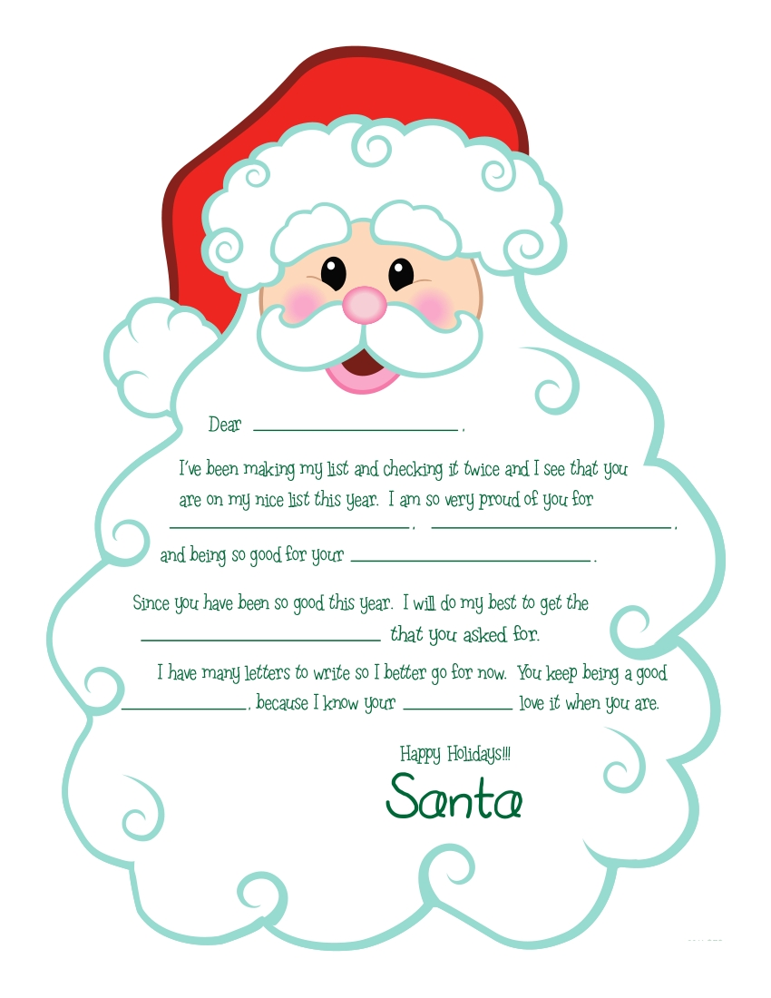 free printable letter from santa template - search results for free printable letters from santa
