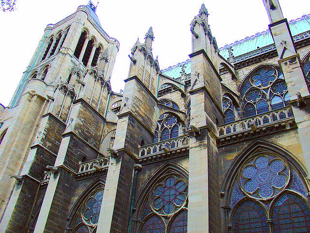 The very first Gothic cathedral in the world—Saint-Denis in Paris. In this image, you can see the flying buttress and clerestory architectural elements introduced by the Gothic movement.