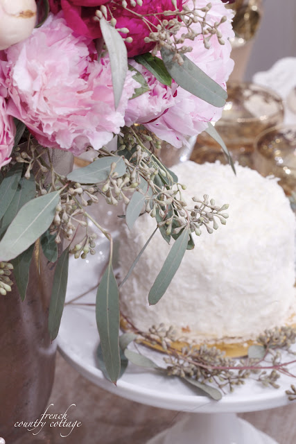 Coconut cake and peonies