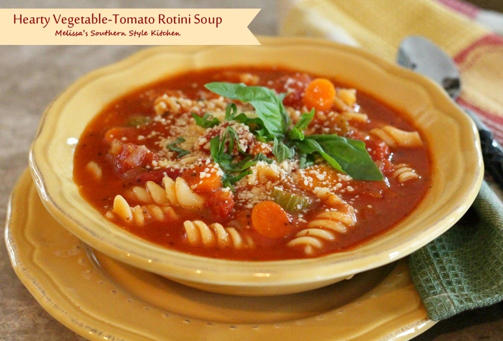 Hearty Vegetable-Tomato Rotini Soup - melissassouthernstylekitchen.com