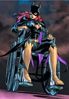"Batgirl imagines herself in the wheelchair she used as Barbara Gordon (and Oracle), having been crippled by the Joker in ""A Killing Joke"" written by Alan Moore"