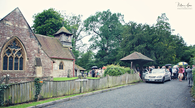 guests leaving from St Leonards churc to Aegeas bowl wedding reception