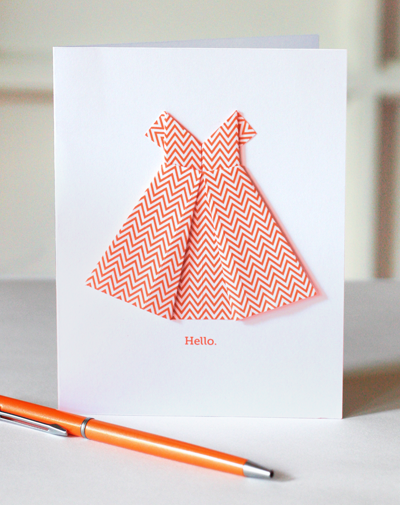 A Simple Origami Dress Makes Sweet DIY Greeting Card Its Good Option For Mothers Day Bridesmaids And Bridal Showers Or Birthday Cards Fancy