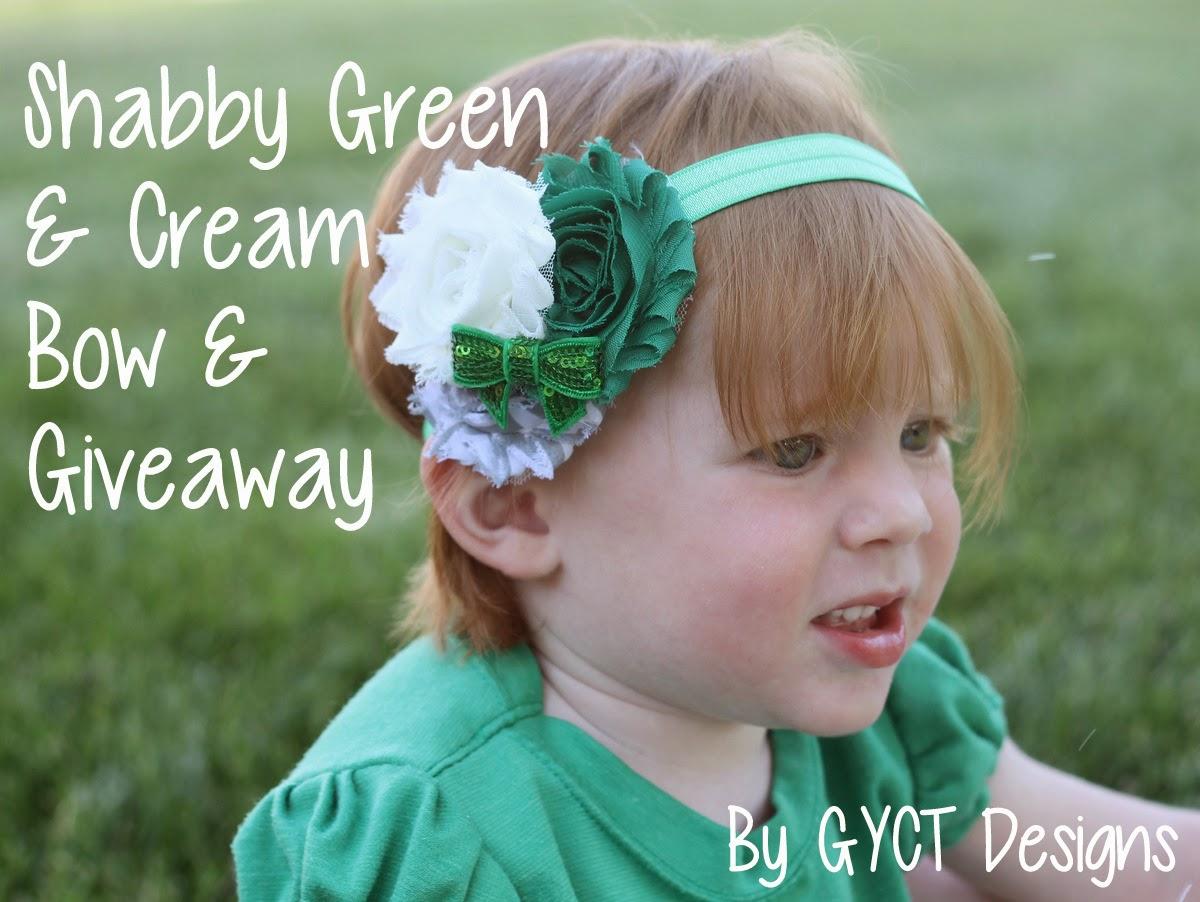 Shabby Green & Cream Bow by GYCT