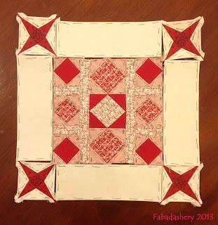 Block 62 - Nearly Insane Quilt, with Cornerstones and Sashing