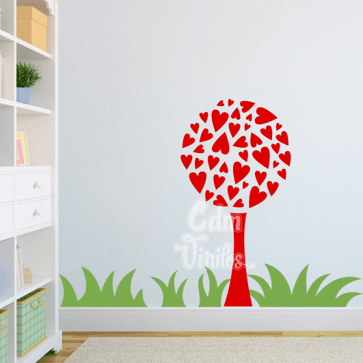 Vinilo decorativo infantil arbol corazones w43 cdm for Vinilo arbol infantil