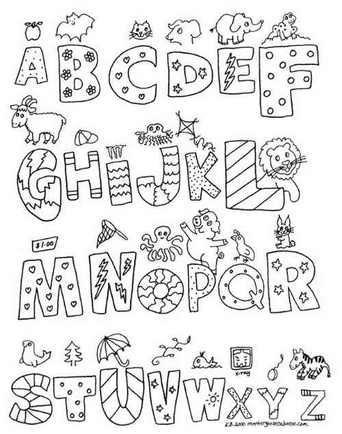 Alphabet Letters Black And White A Z Graffiti Print Color With Pictures On Each Letter Beginning Those