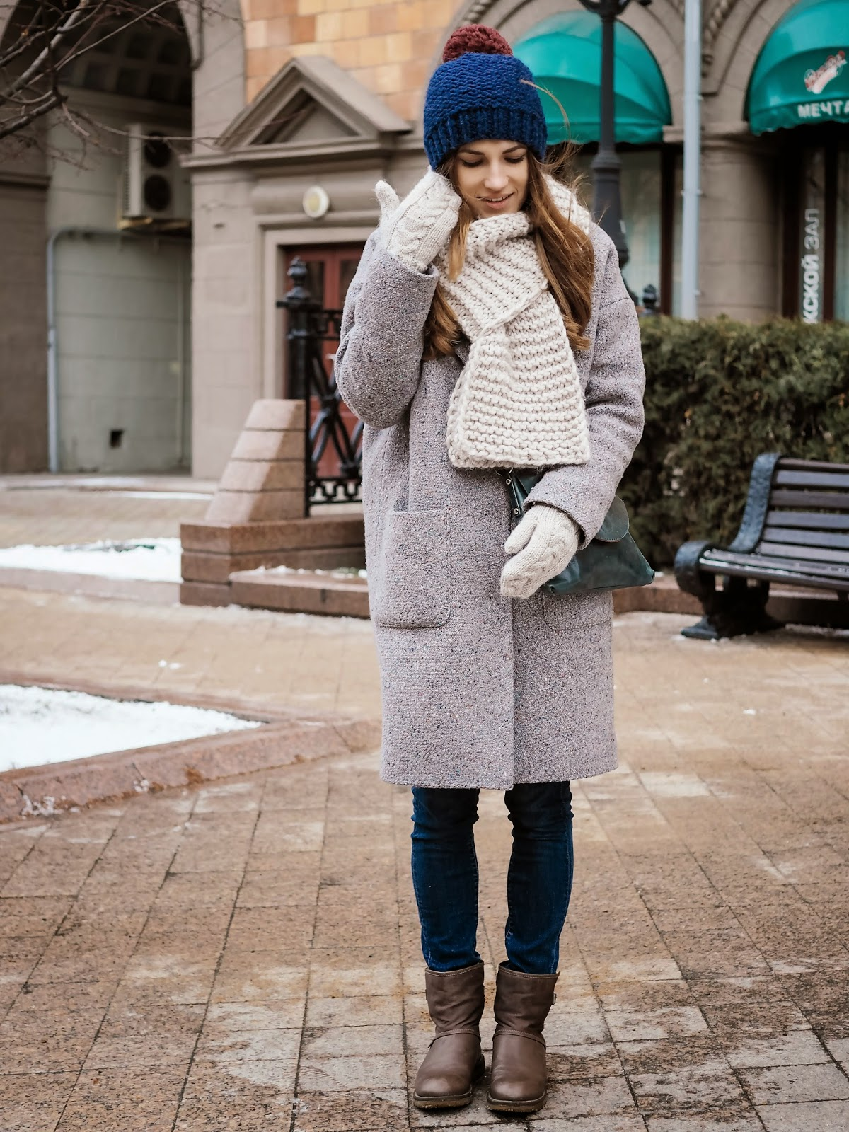 Grey oversize boyfriend winter coat