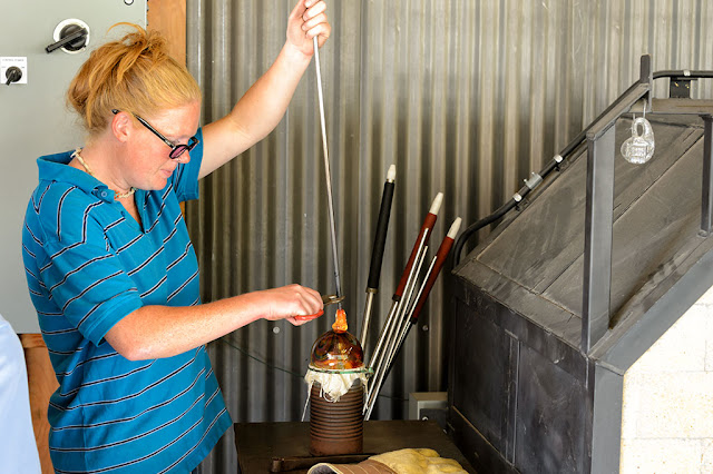 Amy helps finish an ornament at Golden Glassblowing Experience - Skagway, Alaska