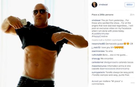 vin diesel è diventato un trippone ma si ribella su instagram
