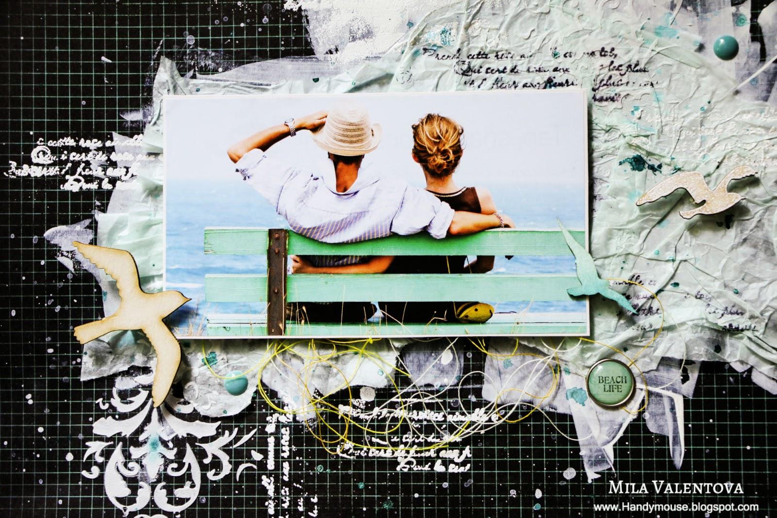 Скрапбукинг страничка  Море, чайки, пляж. Мила Валентова.