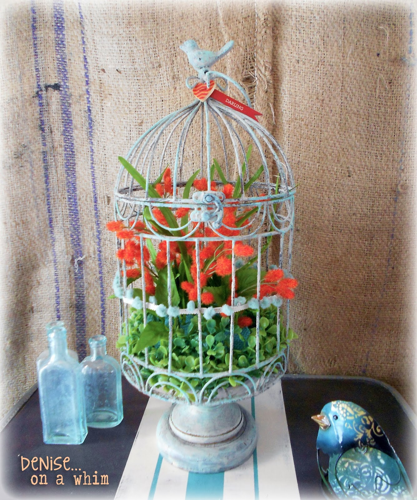 Shabby Birdcage you Can Make at Michaels via http://deniseonawhim.blogspot.com