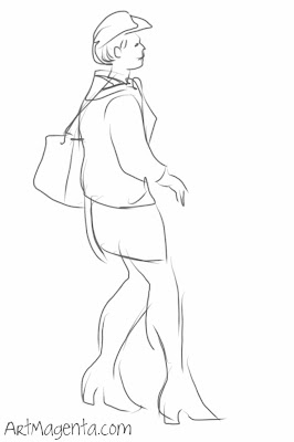 Stewardess is a gesture drawing by Artmagenta