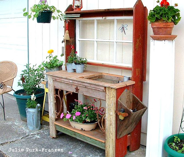 Selectively salvaged reclaimed wood potting bench - Julie Turk-Franzen