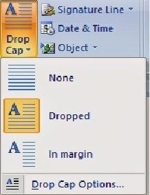 tampilan drop cap