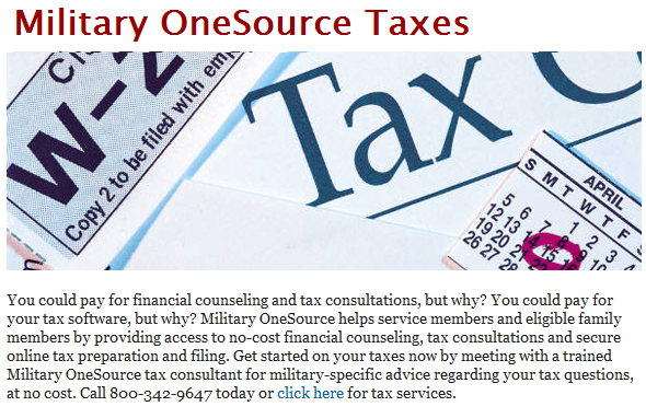 You could pay for financial counseling and tax consultations, but why? You could pay for your tax software, but why? Military OneSource helps service members and eligible family members by providing access to no-cost financial counseling, tax consultations and secure online tax preparation and filing. Get started on your taxes now by meeting with a trained Military OneSource tax consultant for military-specific advice regarding your tax questions, at no cost. Call 800-342-9647 today or click here for tax services.