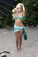 Pia Mia Perez in a white bikini for new music video shoot in LA