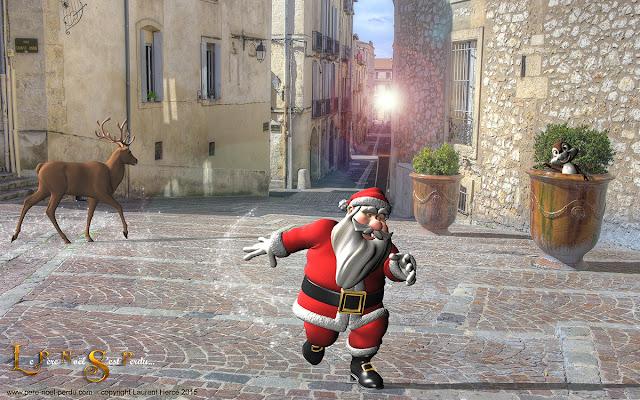 Le Père Noël à Montpellier dans les rues du centre ville
