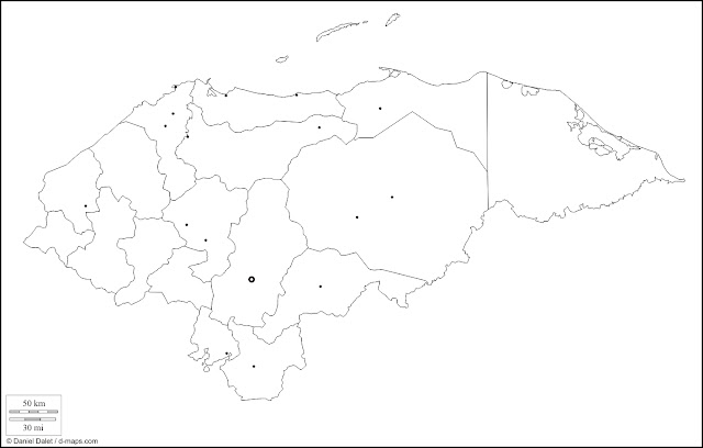 mapa blanco de honduras