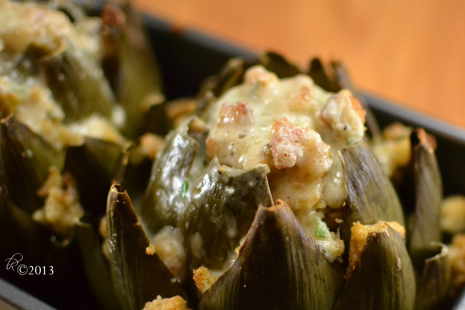 Fromage fort stuffed artichokes